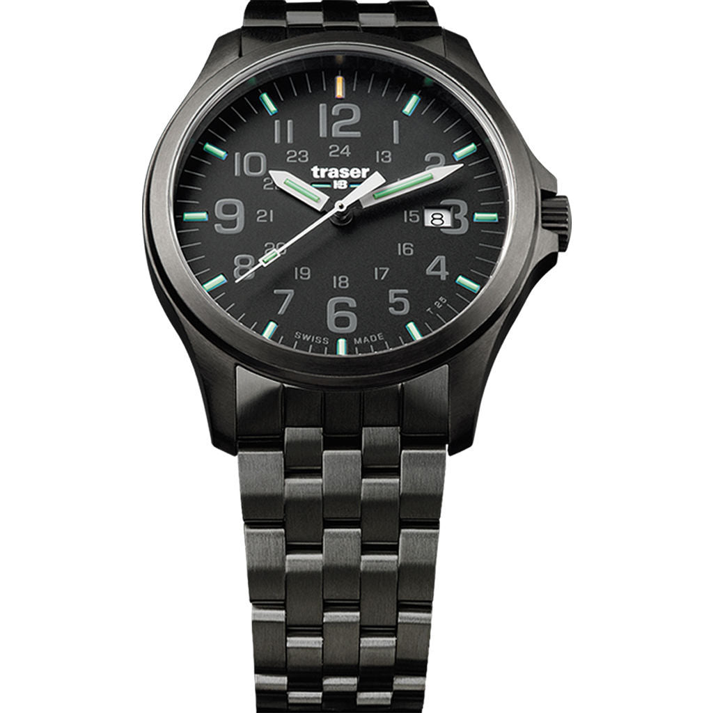 traser H3 Black P67 Officer Pro Gunmetal Watch | Gunmetal Strap 107868