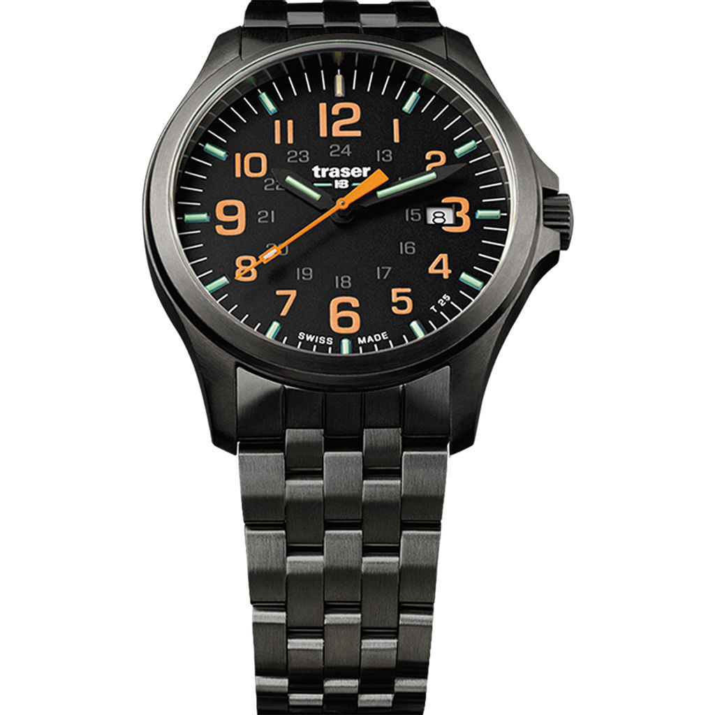 traser H3 Black/Orange P67 Officer Pro Gunmetal Watch | Gunmetal Strap 107870