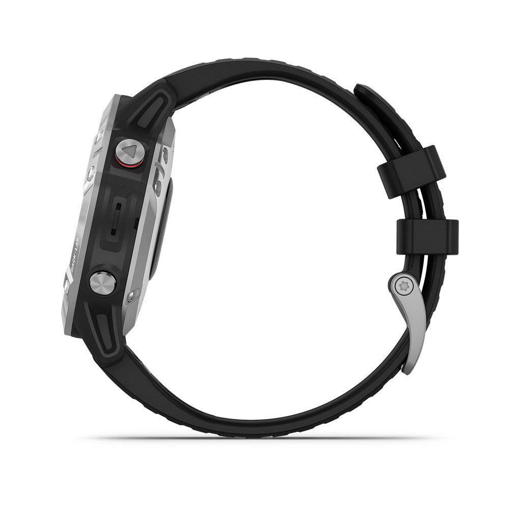 Garmin Fenix 6 GPS Sport Smartwatch Silver - Black Band, 010-02158-00