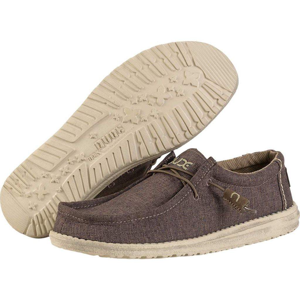 Hey Dude Wally Linen Shoes | Chocolate