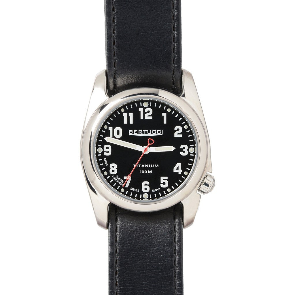 Bertucci A-2T Highpolish Field Watch | Black/Black Horween 12091