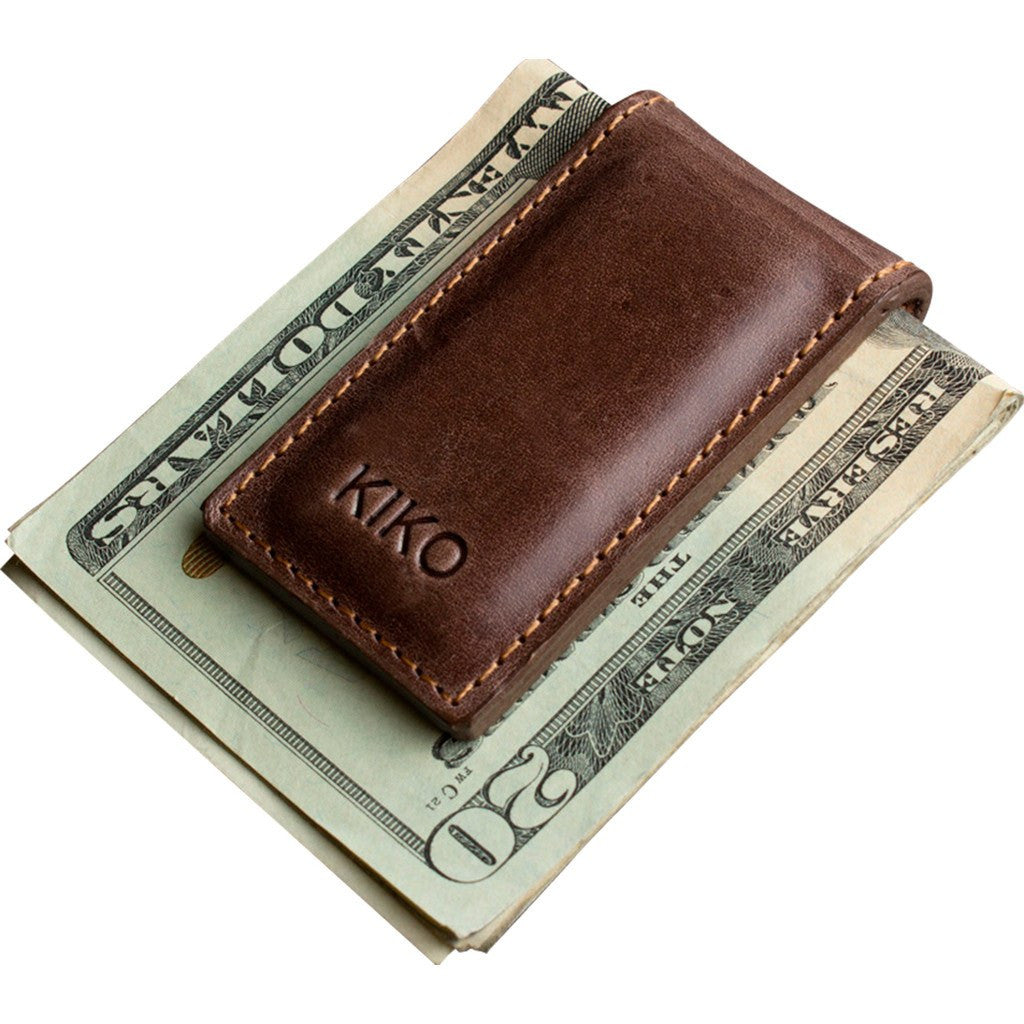 Kiko Leather Magnetic Money Clip | Brown 111brwn