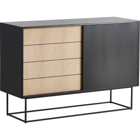 Woud Virka High Sideboard | Black/Soap Treated Oak 120310