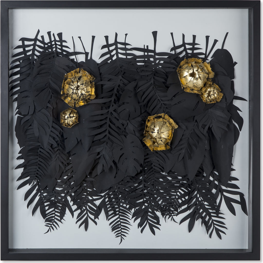 Resource Decor Botanical Foliage & Blossoms in Wooden Picture Box | Black/Gold