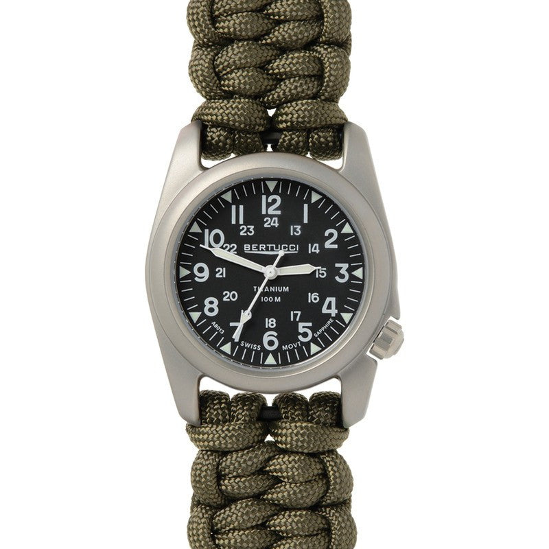 Bertucci A-2T Vintage Exclusive Braided Paracord Watch | Black/Green 12080