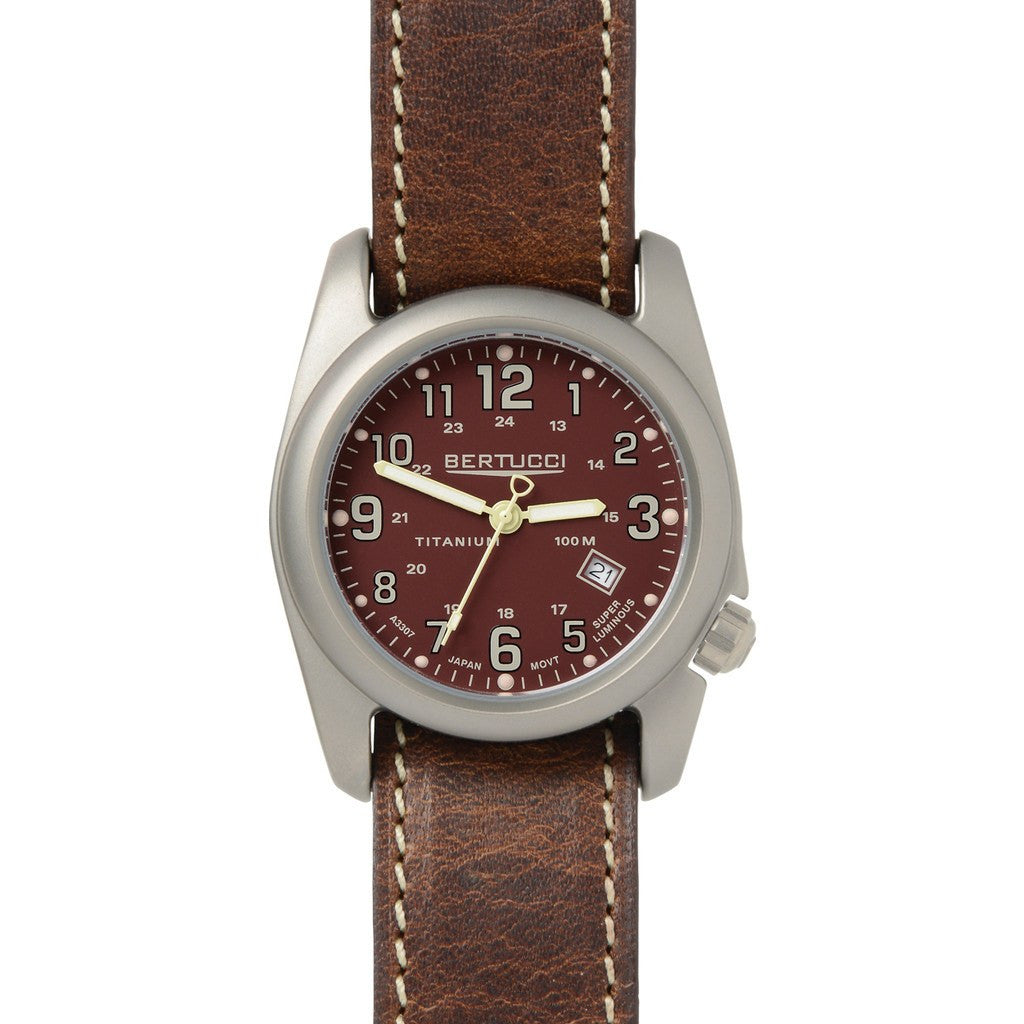 Bertucci Field Colors Watch | Crimson/Nut Brown Leather 12090