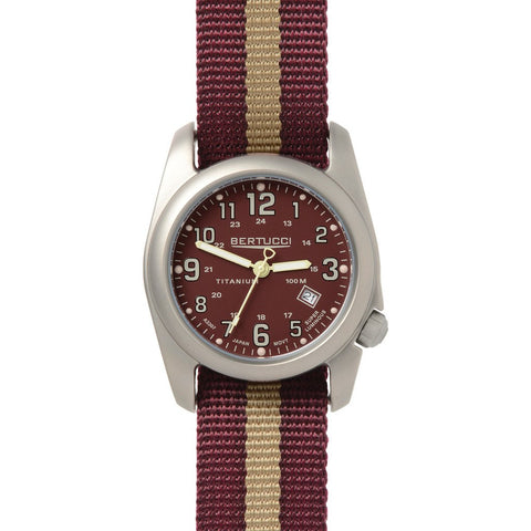 Bertucci Field Colors Watch | Crimson/Khaki Nylon 12102