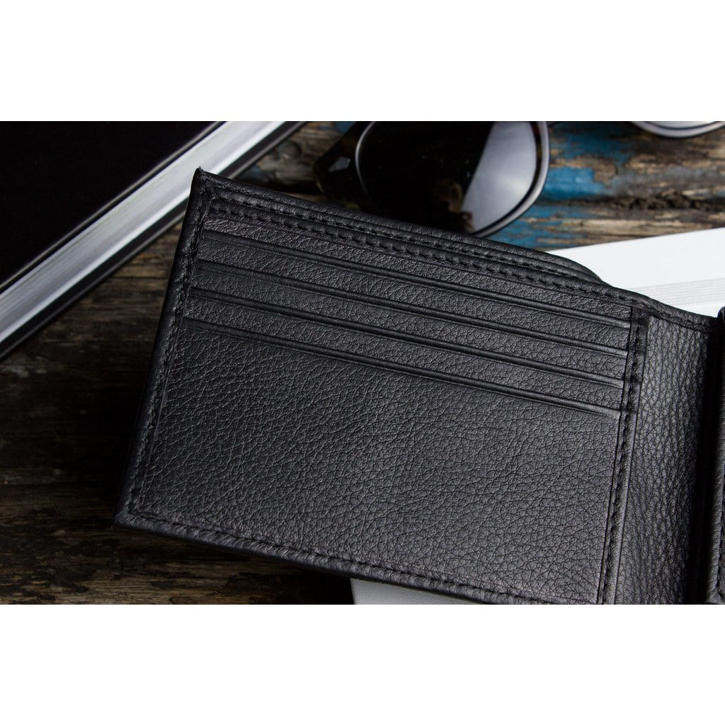 Kiko Leather Traditional Bi-Fold Wallet | Black 127blk
