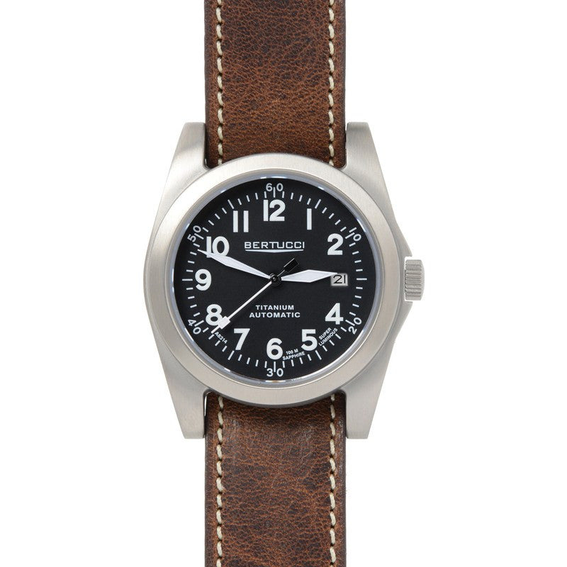 Bertucci A-3T Navigator Ti-Matic Watch | Black/Brown