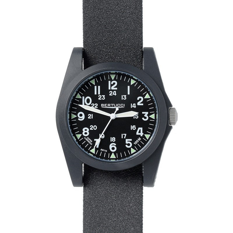 Bertucci A-3P Sportsman Vintage Field Watch | Black/Black 13353