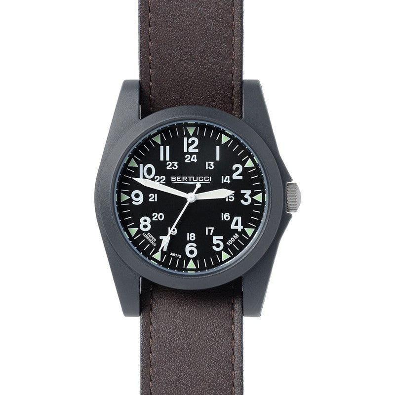 Bertucci A-3P Sportsman Vintage Field Watch | Black/Briar 13354