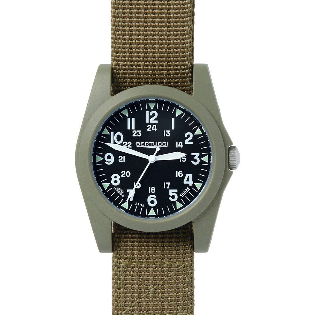 Bertucci Sportsman Vintage Watch | Black/Patrol Olive Nylon 13362
