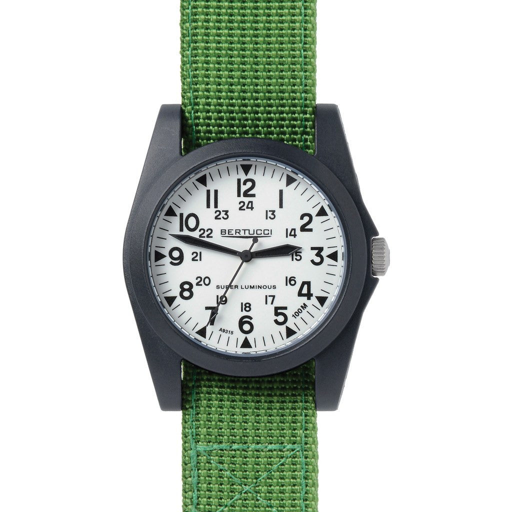 Bedroom Adventure Gear Bertucci Sportsman Vintage Watch White Jungle Nylon 13364