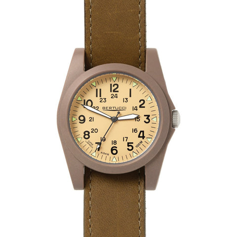 Bertucci Sportsman Vintage Watch | Patrol Khaki/Olive Brown Leather 13365