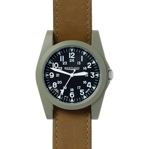 Bertucci Sportsman Vintage Watch | Black/Olive Brown Leather 13366