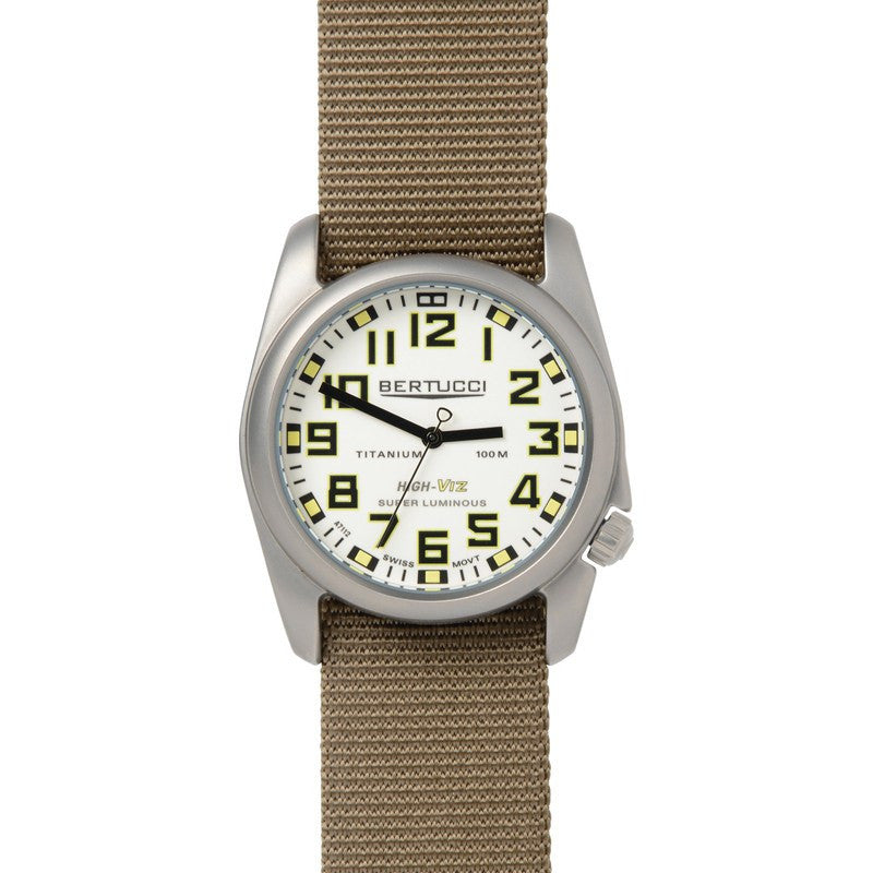 Bertucci HIGH-VIZ Illuminated Watch | White/Dark Khaki 13451