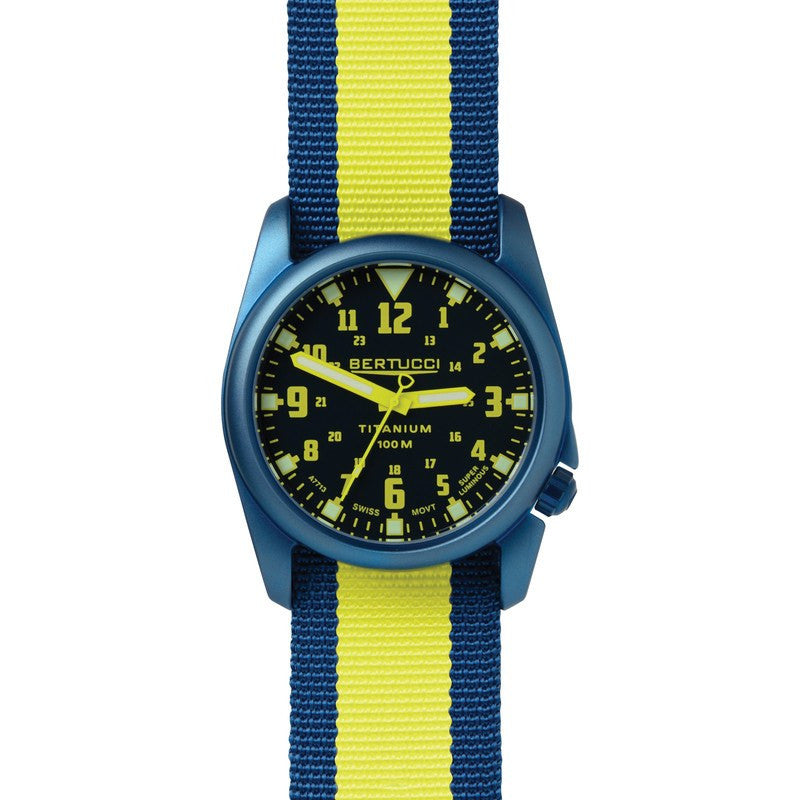 Bertucci A-4T Nautical Illuminated Watch | Deep Sea Blue with Yellow13455