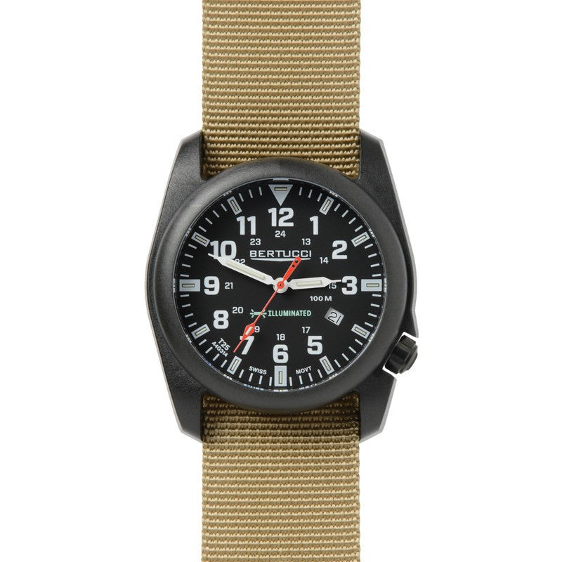 Bertucci A-5P Illuminated Watch | Black/Khaki