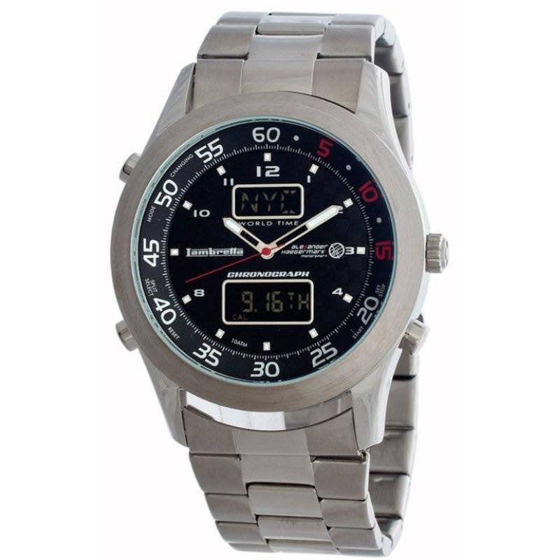Lambretta De Luxe World Watch | Silver Black 2077BLA