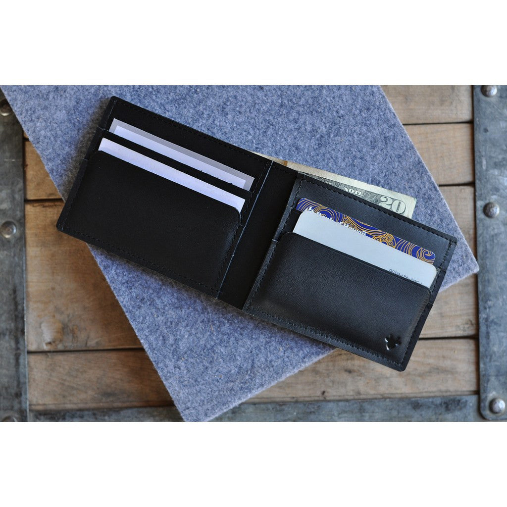Kiko Leather Sleek Bi-Fold Wallet | Black 139