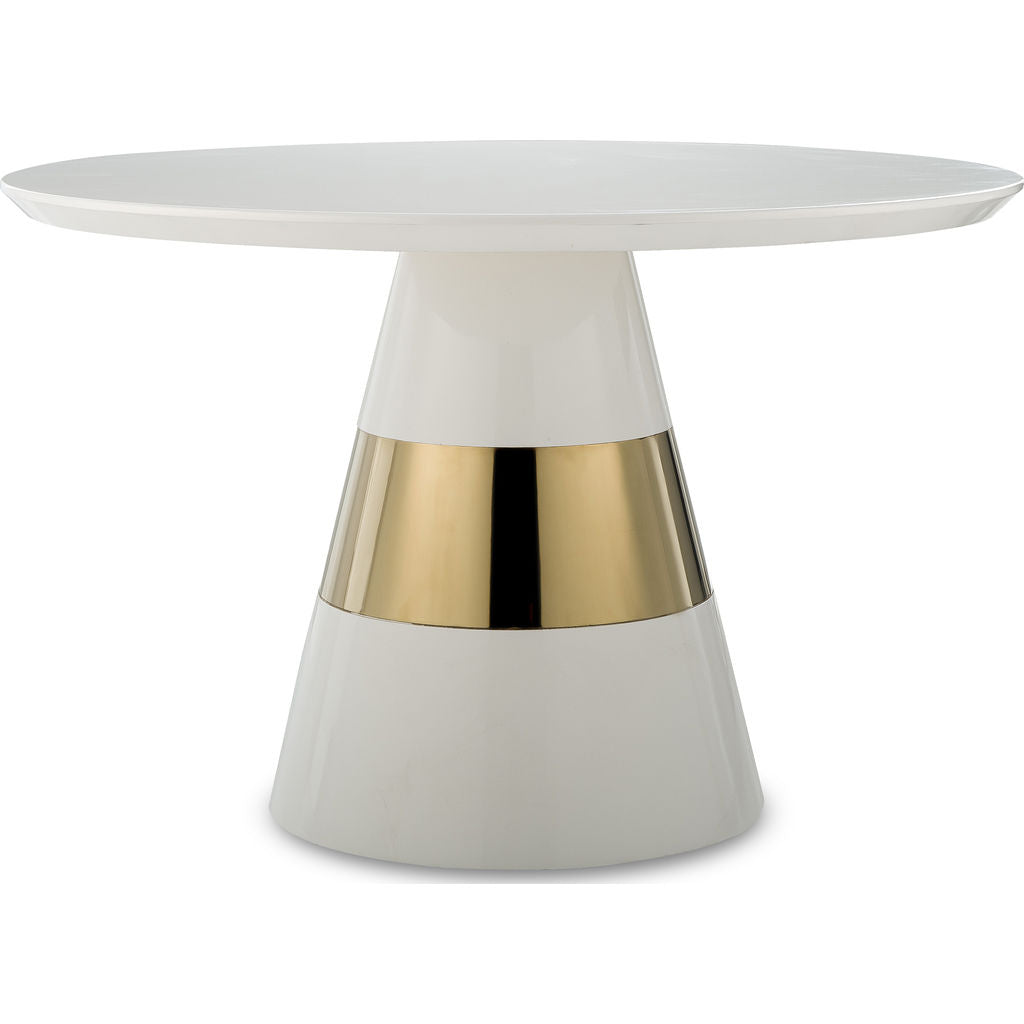 Resource Decor Band Side Table | White/Brass