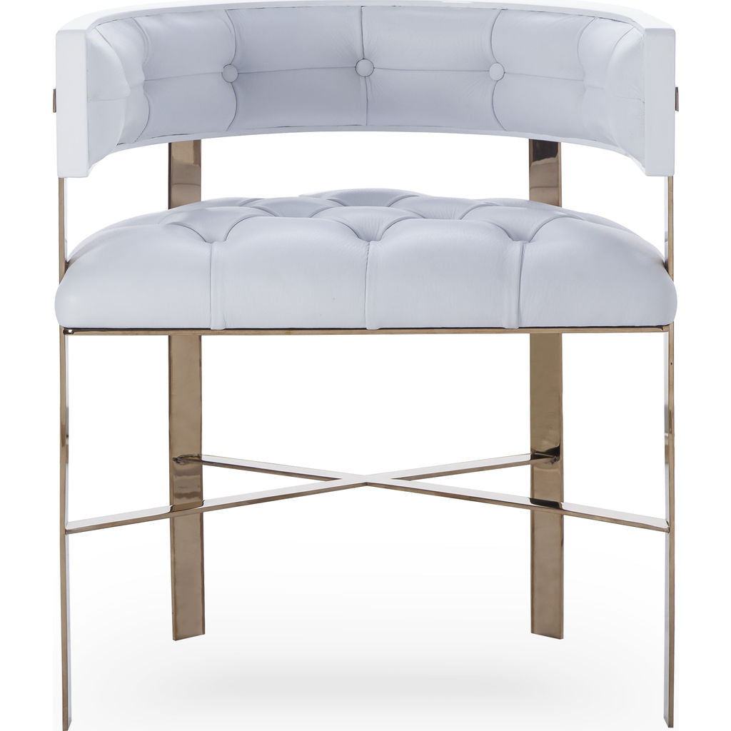 Resource Decor Art Dining Chair Tufted | White Leather/Mirrored Brass