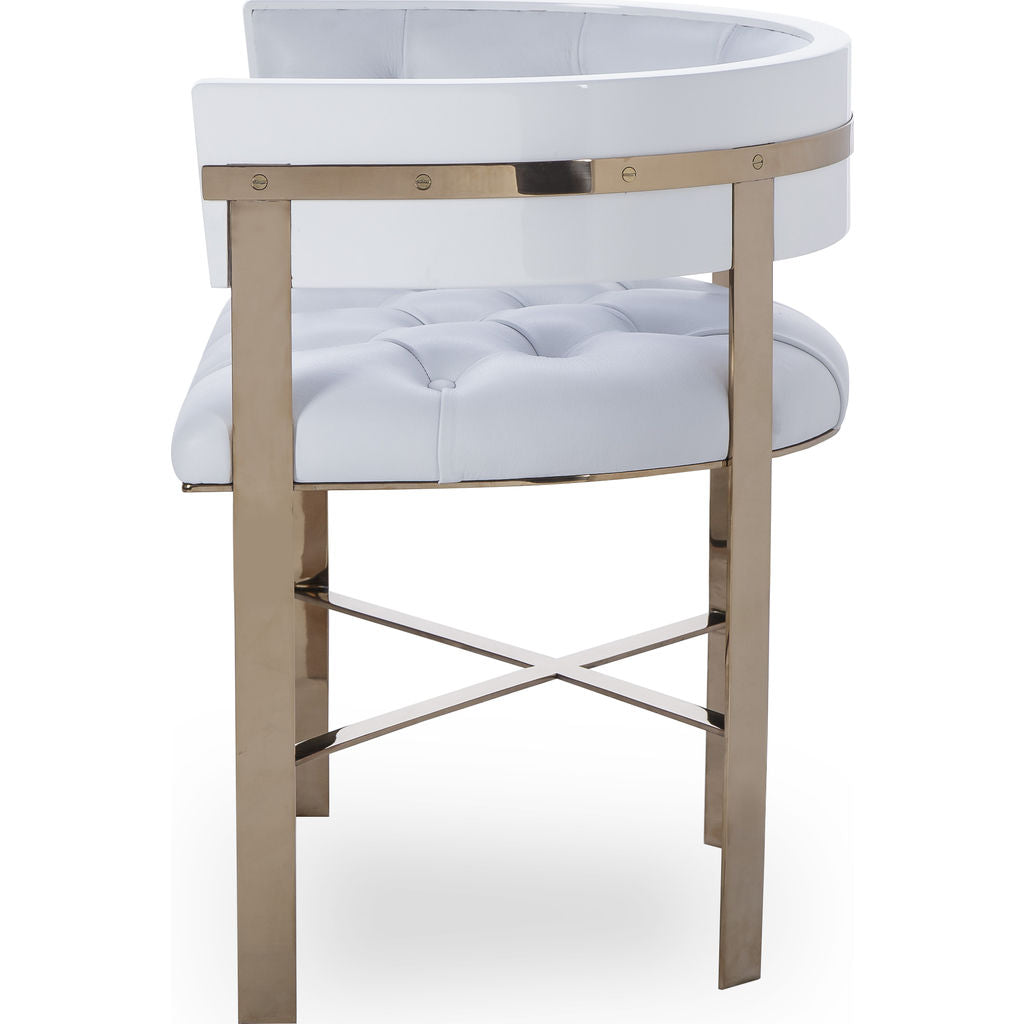 Picture of: Resource Decor Art Dining Chair Tufted White Leather Mirrored Brass Sportique