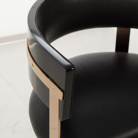Resource Decor Art Dining Chair | Black Leather/Mirrored Brass