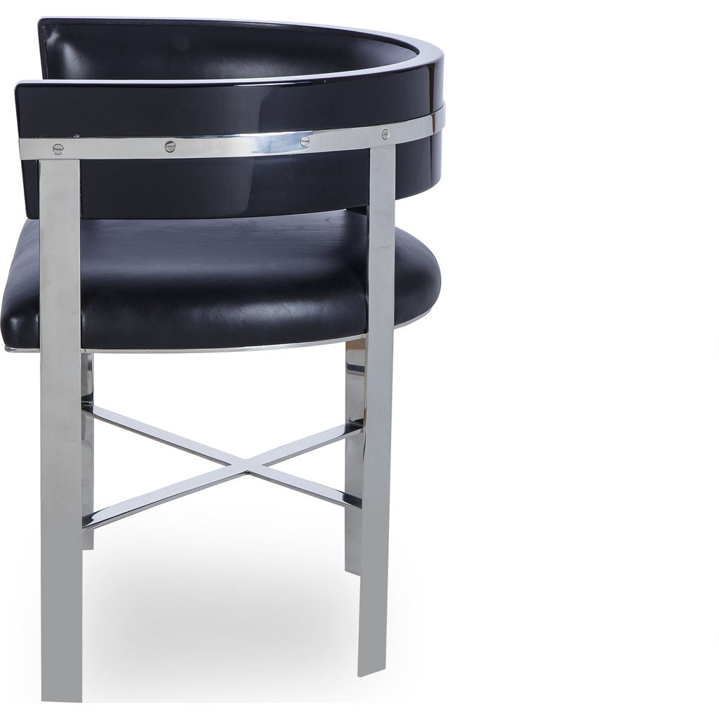 Resource Decor Art Dining Chair | Black Leather/Stainless Steel