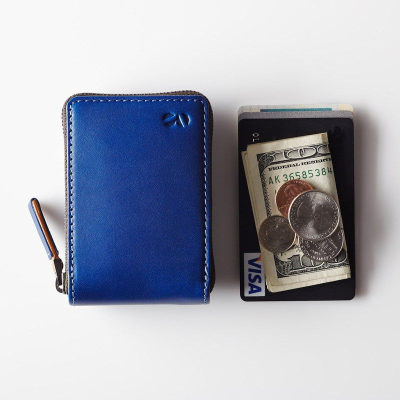 Octovo Birdcage Leather Wallet | Blue W01-001-BLU