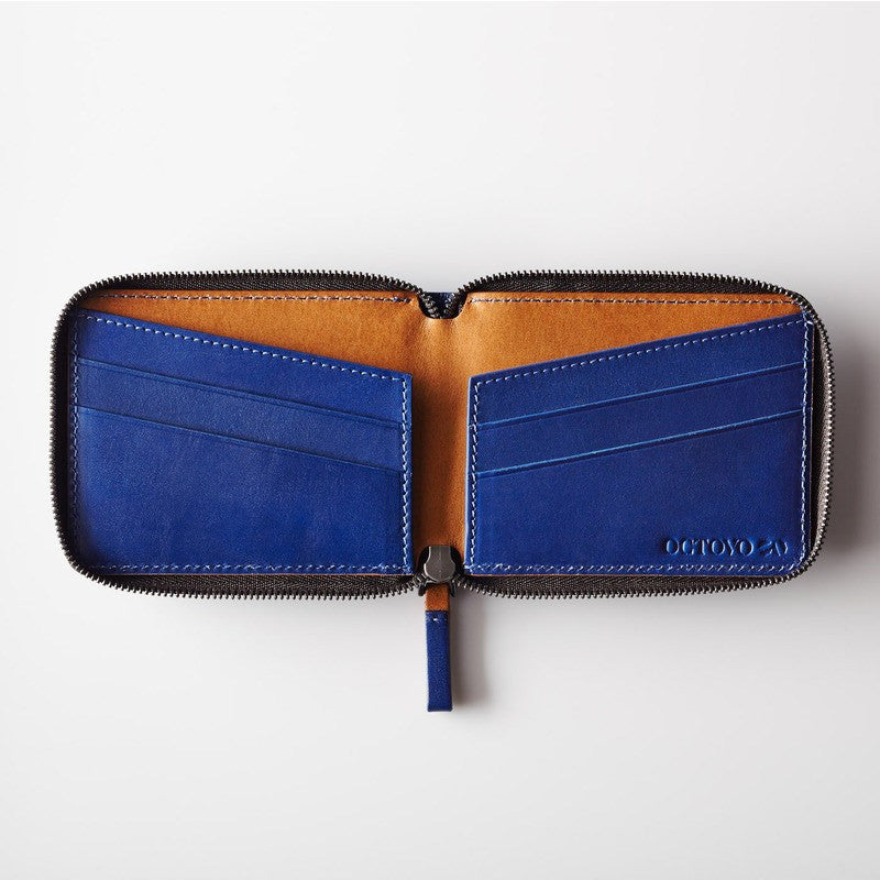 Octovo Cage Leather Wallet | Blue W01-002-BLU