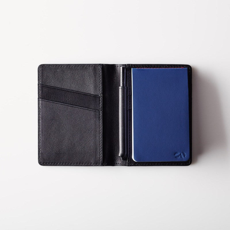 Octovo Postman Leather Wallet w/ Pad & Pen | Black W01-007-BLK