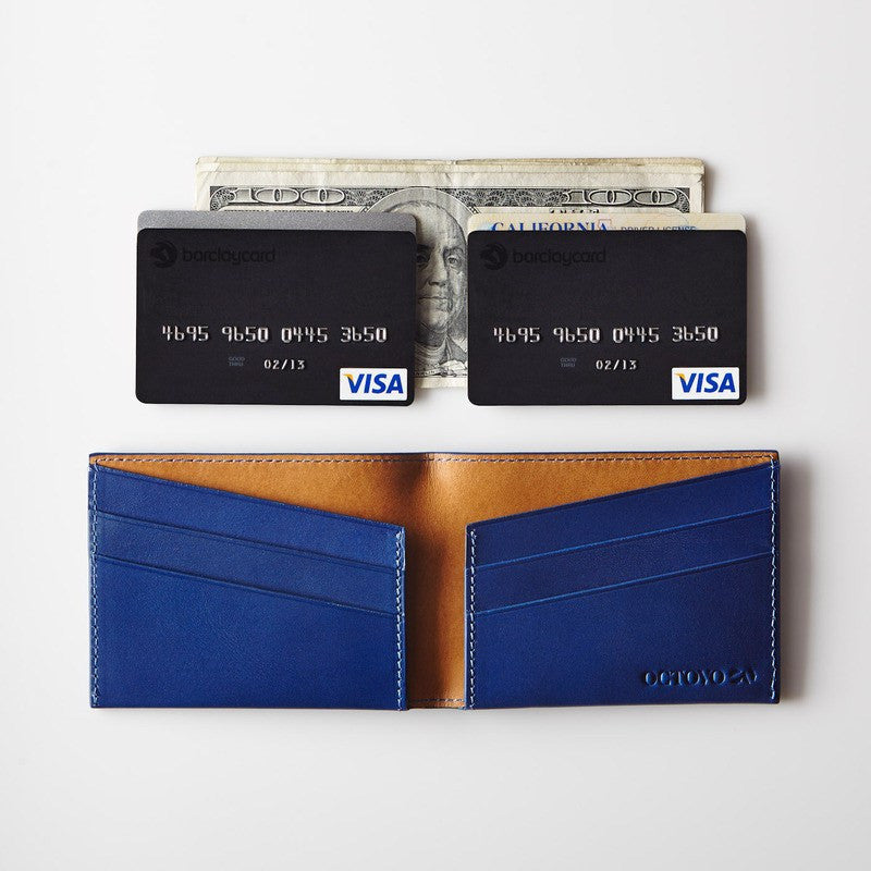 Octovo Purist Leather Wallet | Blue W01-003-BLU