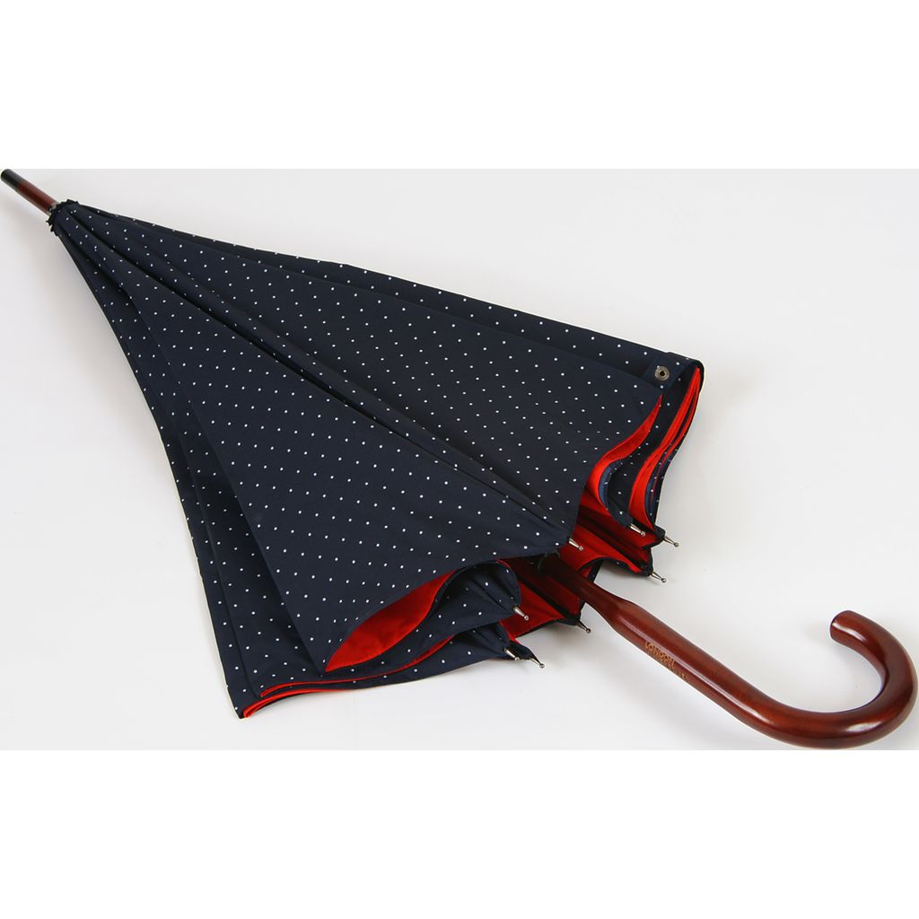 London Undercover Navy Polka Dot Umbrella | Classic Maple Wood Handle