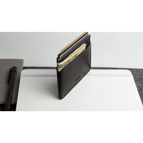Kiko Leather Triple Pocket Card Case | Black 150
