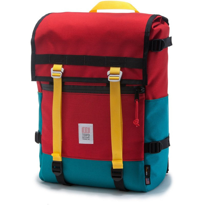 Topo Designs Flap Pack Backpack | Red/Turquoise