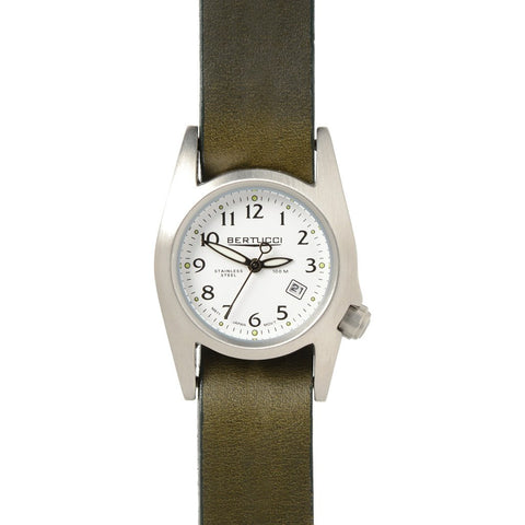 Bertucci M-1S Women's Field Watch | White/Heritage San Remo Olive Leather 18014