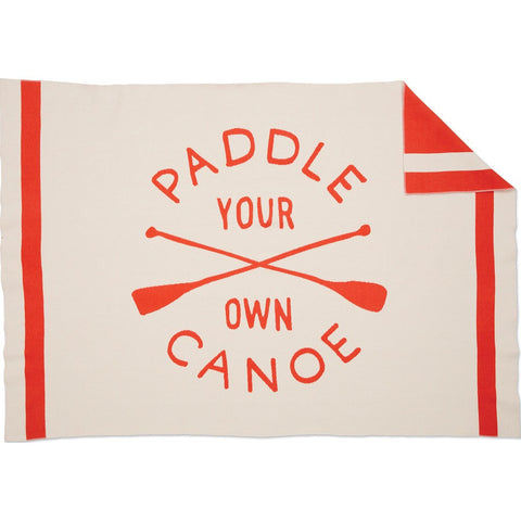 Faribault Izola Paddle Your Own Canoe Wool Throw | Natural/Orange 19041 50x72