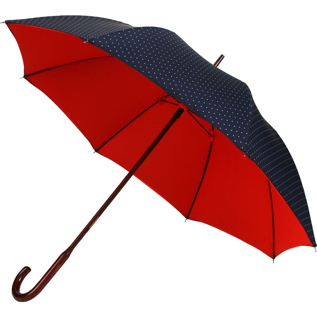 London Undercover Navy Polka Dot Umbrella | Classic Maple Wood Handle-CL 600-002