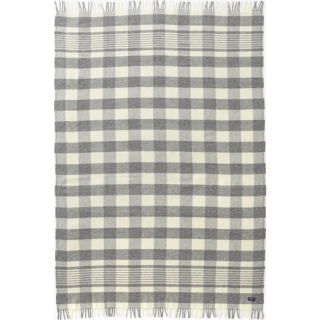 Faribault Plaid 1920s Wool Throw | Gray/Natural 5440 50x72