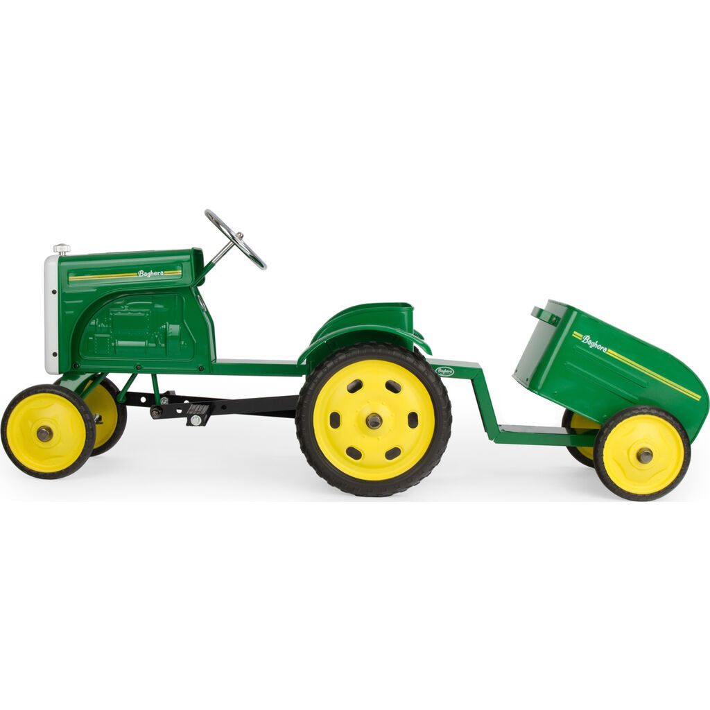Baghera Kid's Tractor and Trailer Pedal Toy Car | Green