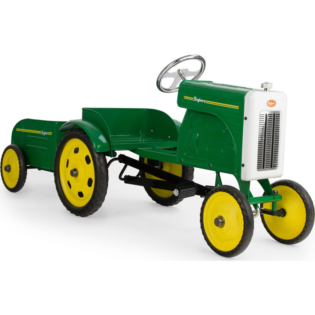 Baghera Kid's Tractor and Trailer Pedal Car | Green
