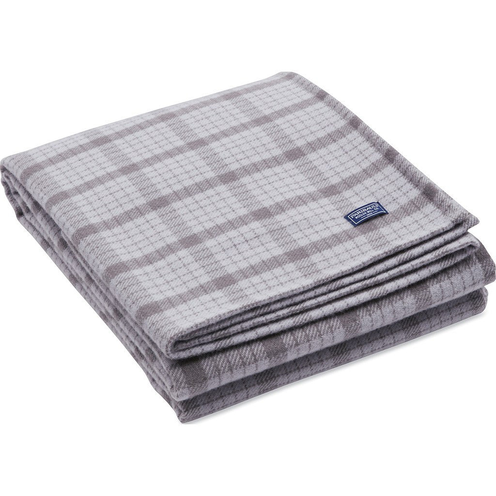 Faribault Holiday Hastings Plaid Wool Throw | Silver 19416 50x72