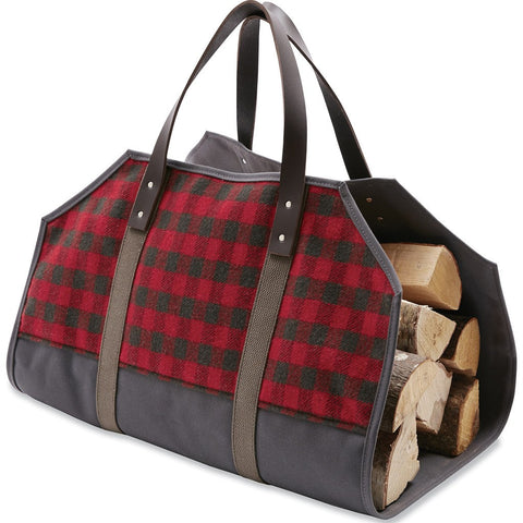 Faribault Mini Buffalo Check Log Carrier | Red/Carbon 19638 27.5x21