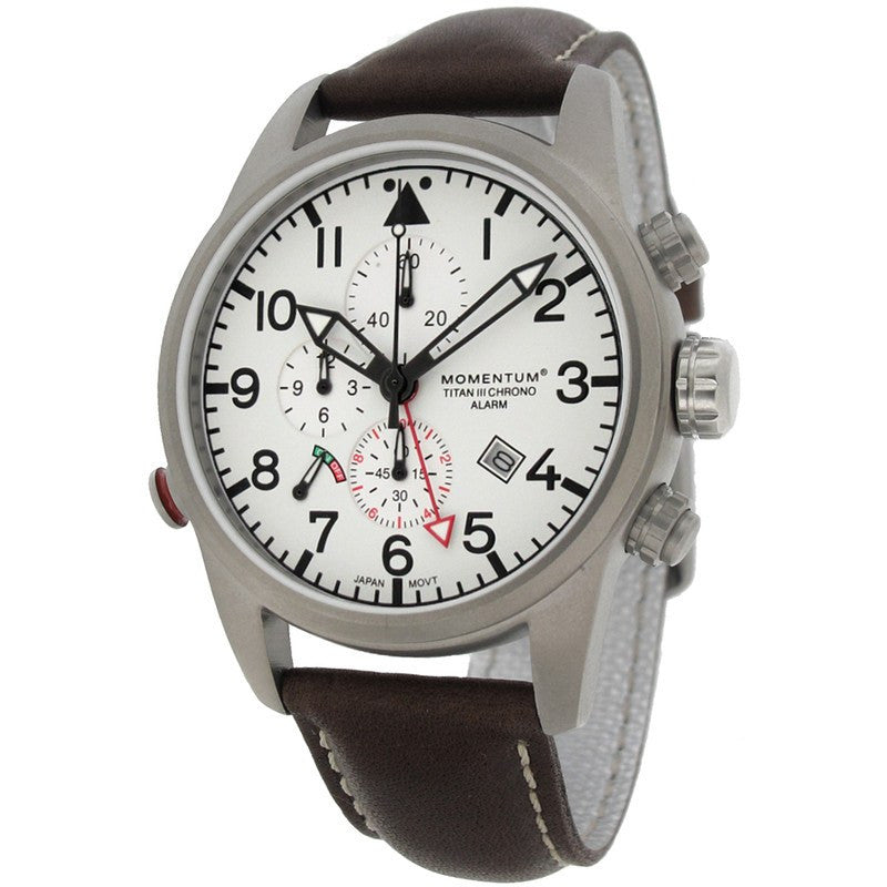 Momentum Titan III Men's Chronograph Watch | White/Leather