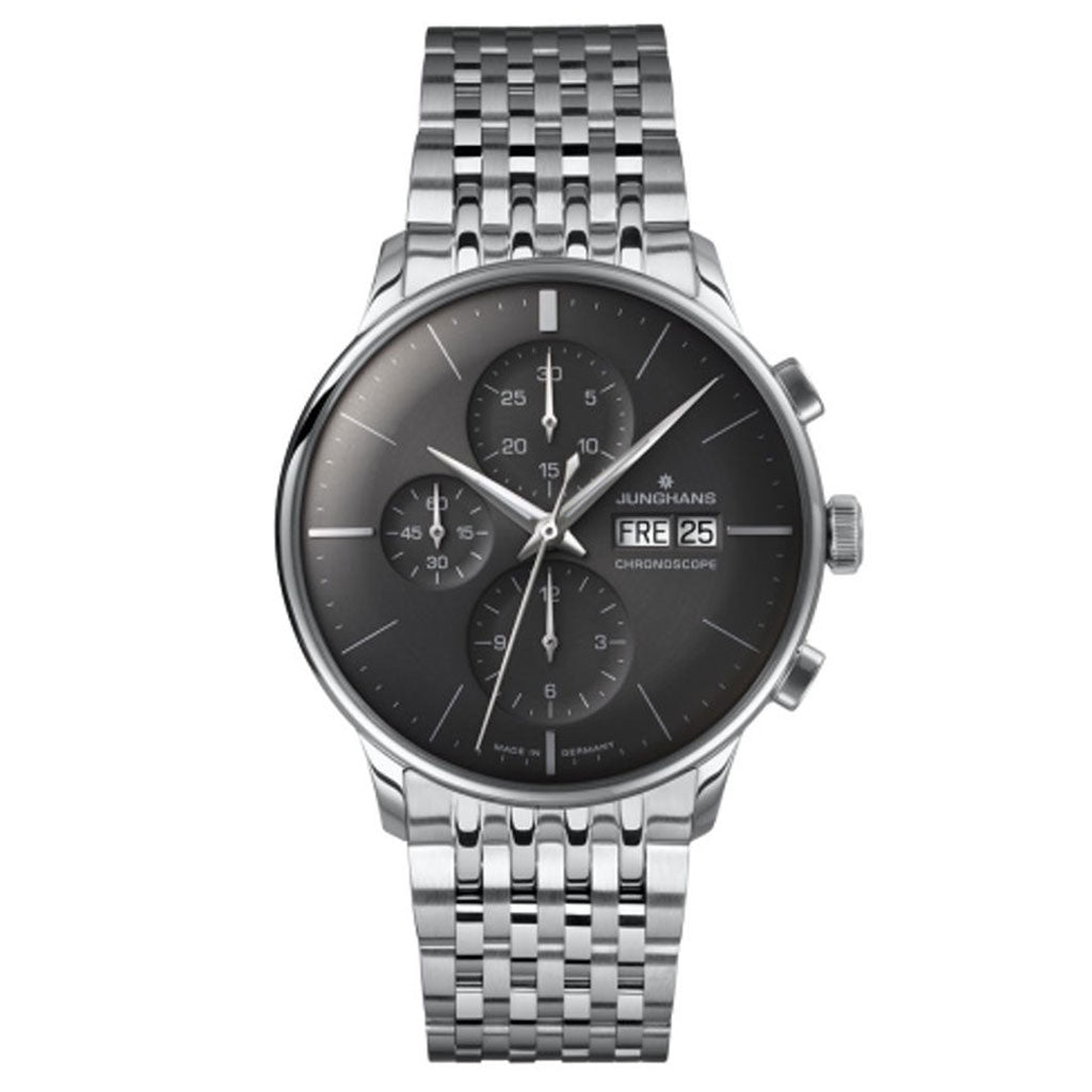 Junghans Meister Chronoscope Dark Grey Watch | Stainless Steel Bracelet 027/4324.44