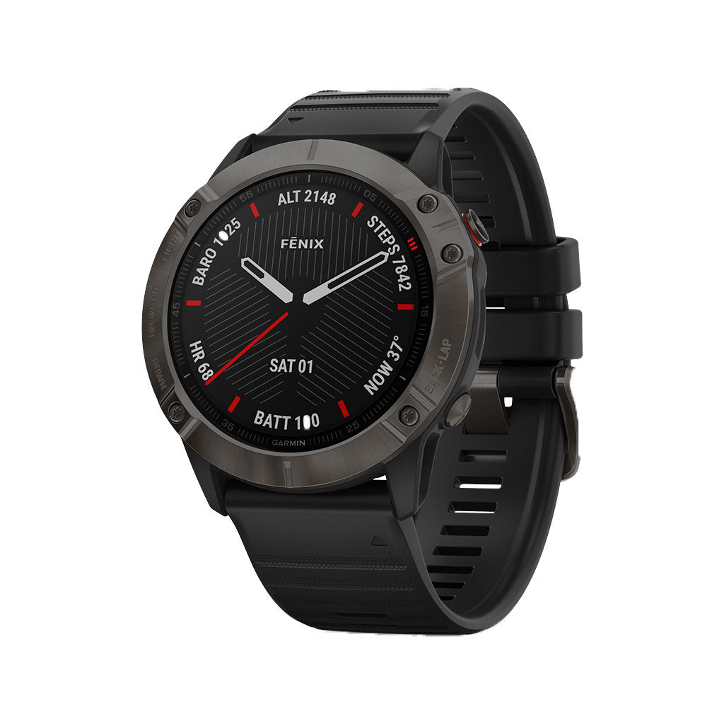 Garmin Fenix 6X Sapphire GPS Watch Carbon Gray DLC - Black Band, 010-02157-10