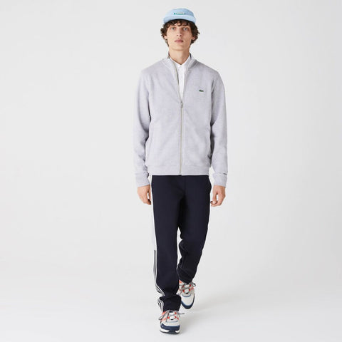 Lacoste Men's Zippered Stand-Up Fleece Sweatshirt | Silver Chine/CCA