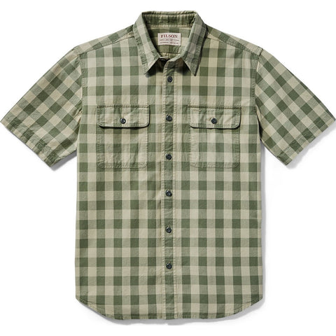 Filson Lightweight Short Sleeve Kitsap Work Shirt | Olive/Khaki Checkered 20002811 M