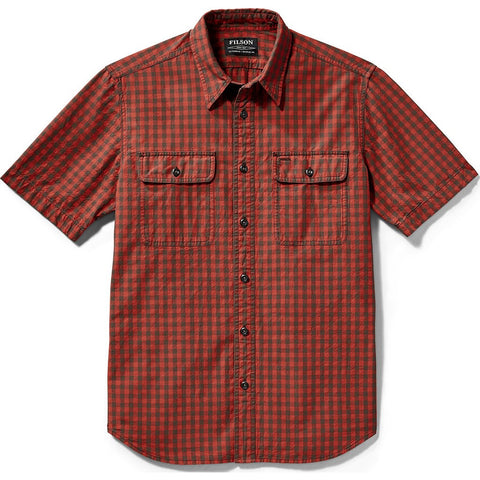 Filson Lightweight Short Sleeve Kitsap Work Shirt | Red/Gray Checkered 20002811 L